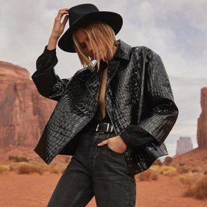 Anine Bing Liza Croc Jacket in Black